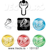 April 30th, 2018: Vector of Collection of Different Colored Spanner Icon Buttons by AtStockIllustration