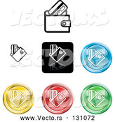 Vector of Collection of Different Colored Wallet Icon Buttons by AtStockIllustration