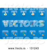 Vector of Collection of Financial Button Icons on a Blue Background by Rasmussen Images