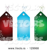 Vector of Collection of Three Red, Blue and Green Snowflake Patterned Christmas Gift Tags by KJ Pargeter
