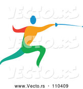 Vector of Colorful Athlete Fencing by Patrimonio