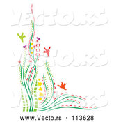 Vector of Colorful Corner Border of Flowers Plants and Birds with Text Space by Cherie Reve