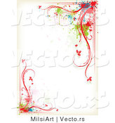 Vector of Colorful Floral Vines and Splatters - Border Background Design by MilsiArt