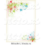 Vector of Colorful Floral Vines Around Antique White Copyspace Border Background Design by MilsiArt