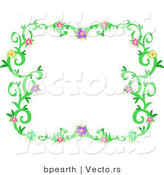 Vector of Colorful Flowering Vines Border Background by Bpearth