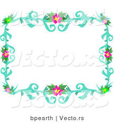 Vector of Colorful Flowering Vines Border by Bpearth