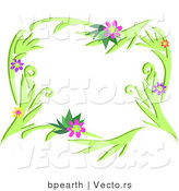 Vector of Colorful Flowering Vines Border Design by Bpearth