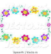 Vector of Colorful Flowering Vines Border Frame by Bpearth