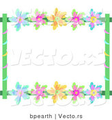 Vector of Colorful Flowers with Vines - Background Border Frame by Bpearth