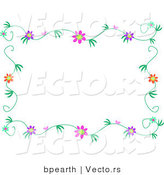 Vector of Colorful Flowers with Vines - Border Design by Bpearth
