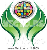 Vector of Colorful Grid Globe and Green Abstract Leaves or Hands by Lal Perera