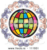 Vector of Colorful Grid Globe Encircled with White and Black Hands by Lal Perera
