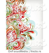 Vector of Colorful Leafy Floral Border Background by OnFocusMedia