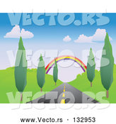 March 28th, 2018: Vector of Colorful Rainbow Spanning over a Strait Tree Lined Road by Rasmussen Images