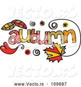 Vector of Colorful Sketched Autumn Season Word Art by Prawny