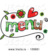 Vector of Colorful Sketched Menu Word Art by Prawny