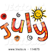 Vector of Colorful Sketched Month of July Text by Prawny