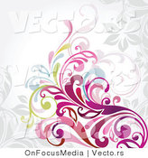 Vector of Colorful Vines and Scrolls over Grey Background Design by OnFocusMedia