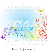 Vector of Colorfule Spring Time Swallows, Vines and Music Notes over Blue Grunge Background by Pushkin