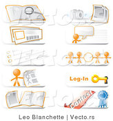 Vector of Community Hotline Icons Featuring the Orange Guy, a Search, Photos, Live Chat, Information, Links, Login and Contest Icons by Leo Blanchette