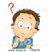 Vector of Confused Brunette White Baby Boy with a Question Mark over His Head by BNP Design Studio