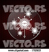Vector of Contained Covid19 Molecules over Honeycomb Red Background by Elaineitalia