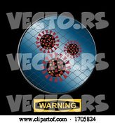 Vector of Contained Virus with Net and Warning Sign by Elaineitalia