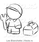 Vector of Contractor Person with His Tool Box - Coloring Page Outlined Art by Leo Blanchette