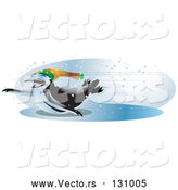 Vector of Cool and Energetic Black and White Penguin Wearing Shades and a Hat, Sliding Across an Iced over Body of Water with Speed on a Snowy Winter Day by Tonis Pan
