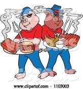 Vector of Cool Bbq Pigs with Ribs Pulled Pork Burgers and Poultry by LaffToon