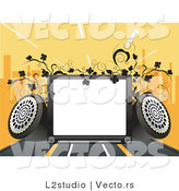 Vector of Copyspace with Speakers, Vines and a City Skyline with Orange Background by L2studio