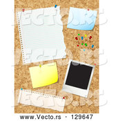Vector of Cork Board with Push Pins, Blank Messages and a Polaroid Picture by KJ Pargeter