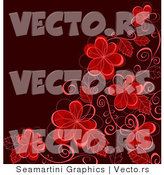 Vector of Corner Border Featuring Red Flowers and Vines over Dark Background by Vector Tradition SM
