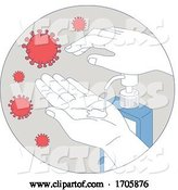Vector of Coronavirus Hand Sanitizer Monoline Circle by Patrimonio