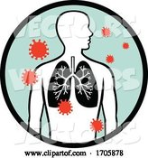 Vector of Coronavirus Infecting Human Lung Circle Retro by Patrimonio