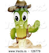 Vector of Cowboy Cactus Character Waving by BNP Design Studio