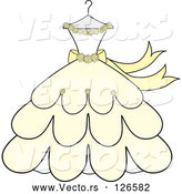 Vector of Cream and Yellow Wedding Dress with Roses on a Hanger by Pams Clipart