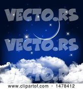 Vector of Crescent Moon and Stars over Clouds by KJ Pargeter