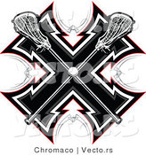 Vector of Crossed Lacrosse Sticks over a Tribal Background Design by Chromaco