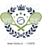 Vector of Crown and Laurel Wreath with a Tennis Ball and Crossed Rackets by Vector Tradition SM
