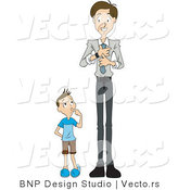 Vector of Curious Son Watching Dad Put on a Tie by BNP Design Studio