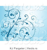 Vector of Curling Blue and White Vines by KJ Pargeter