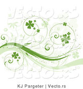 Vector of Curly Green Vines with Shamrocks - Background Design Element by KJ Pargeter