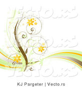 Vector of Curly Spring Floral Vines with Orange Flowers and a Wave - Background Border Design Element by KJ Pargeter