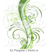 Vector of Curvy Organic Green Vines with Young Curly Stems - Background Border Design Element by KJ Pargeter