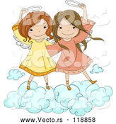 Vector of Cute Angel Girls Holding Their Halos on a Cloud by BNP Design Studio