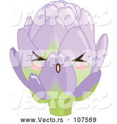 Vector of Cute Artichoke Character with Blushing Cheeks by Pushkin