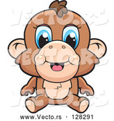 Vector of Cute Baby Monkey with Blue Eyes by Cory Thoman