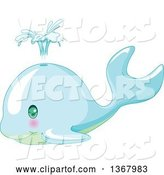 Vector of Cute Baby Whale Spouting by Pushkin