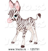 Vector of Cute Baby Zebra Standing by Pushkin